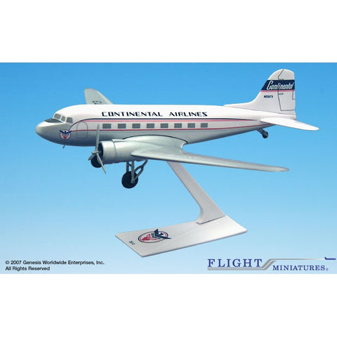 Flight Miniatures Continental DC-3 1:100 Plastic Snap-Fit Desktop Model - Airliner Replicas