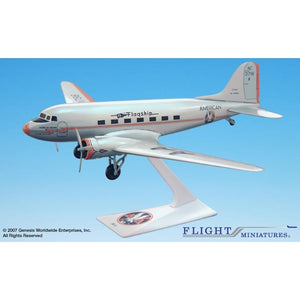 "Flight Miniatures American ""Flagship Knoxville"" DC-3 1:100 Plastic Snap-Fit Desktop Model - Airliner Replicas"