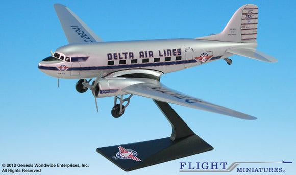 Flight Miniatures Delta Air Lines DC-3 1:100 Plastic Snap-Fit Desktop Model - Airliner Replicas