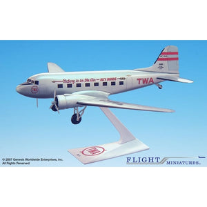 "Flight Miniatures TWA DC-3 ""Victory is in the Air"" 1:100 Plastic Snap-Fit Desktop Model - Airliner Replicas"