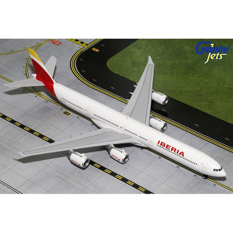 Gemini200 1:200 Scale Diecast Airliner Replica. Iberia Airbus A340-600 Diecast metal aircraft model sold exclusively by Airliner Replicas. The perfect gift for any aviation fan.