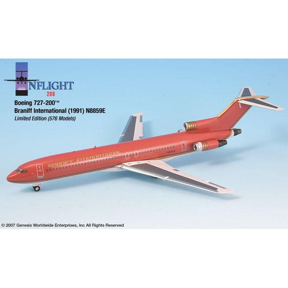InFlight200 - Braniff Ultra Red/Gold Boeing 727-200 1:200 - Airliner Replicas