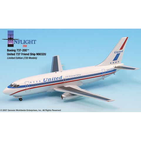 InFlight200 - United Stars&Bars N9032U 737-200 1:200 InFlight200 United 737 Stars&Bars 1:200 Scale Die cast model aircraft.  Sold exclusively by Airliner Replicas.  The perfect gift for any aviation fan.