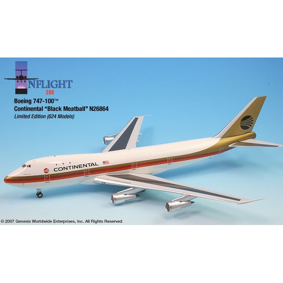 InFlight200 - Continental Black Meatball 747-100 1:200 - Airliner Replicas