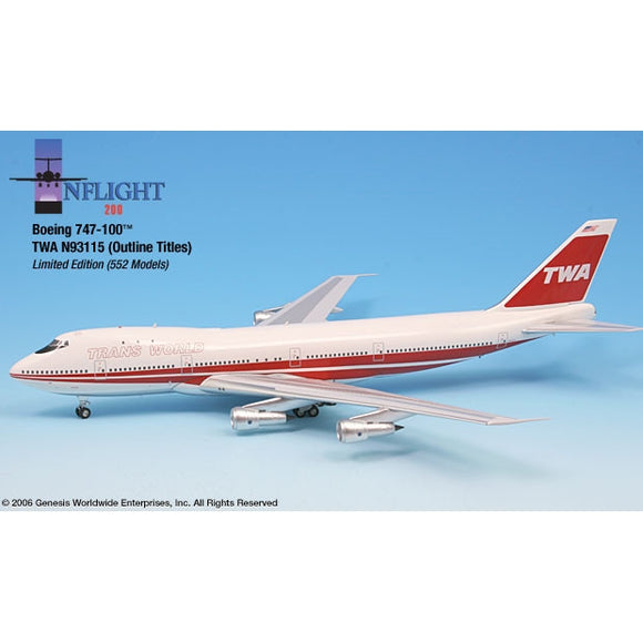 InFlight200 - TWA 747-100 Outline Titles 1:200 - Airliner Replicas