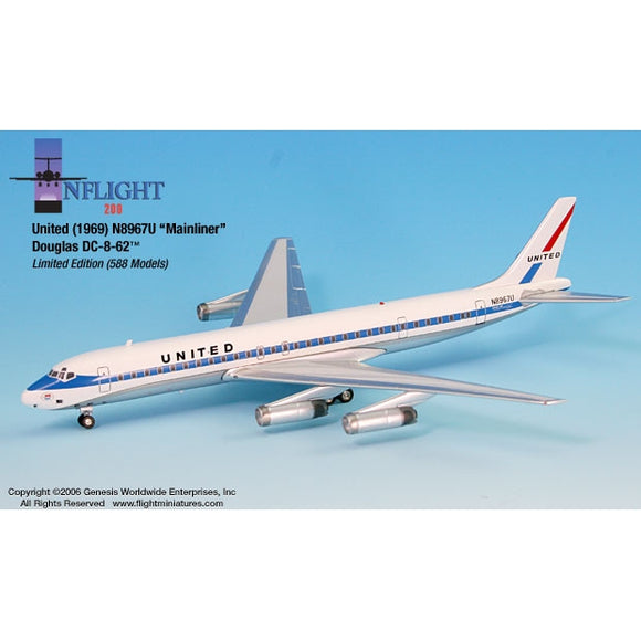 InFlight200 United 1969 DC-8-62 Mainliner N8967U 1:200 - Airliner Replicas