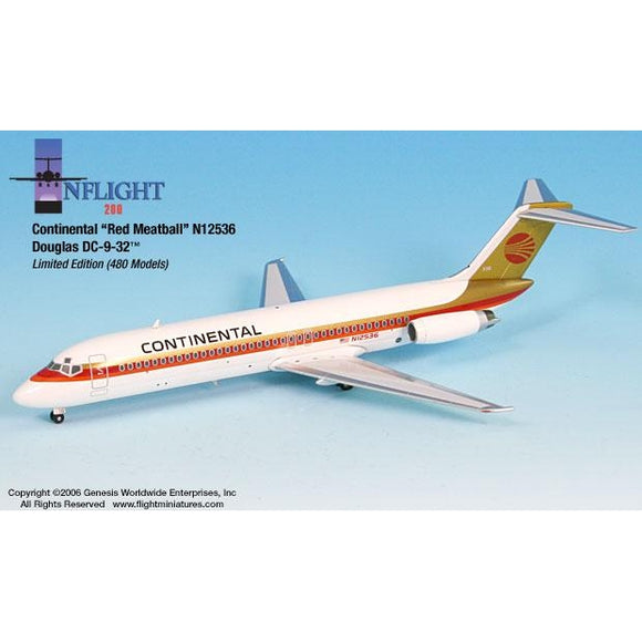 InFlight200 Continental Red Meatball DC-9-32 1:200 - Airliner Replicas
