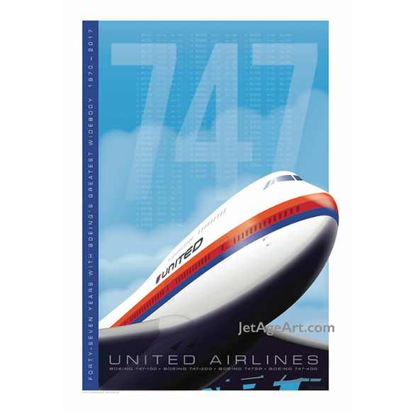 United 747 Tribute Poster 14 X 20 - Airliner Replicas