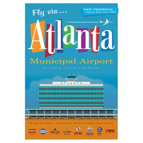 Atlanta Municipal Airport Poster 14 X 20 - Airliner Replicas