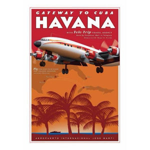 Havana Airport Travel Poster 14 X 20 - Airliner Replicas