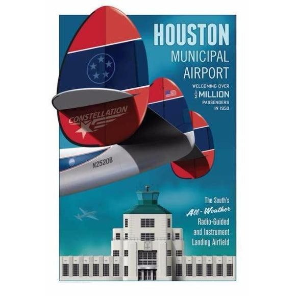 Houston Municipal Airport Poster 14 X 20 - Airliner Replicas