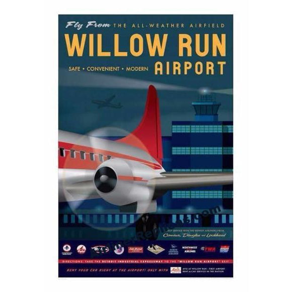 Willow Run Airport Poster 14 X 20 - Airliner Replicas