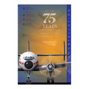 Jet Age Airport Series Art Print Poster - Lockheed Constellation 75 Years 14 X 20, sold exclusively by Airliner Replicas.  The perfect gift for any aviation fan.