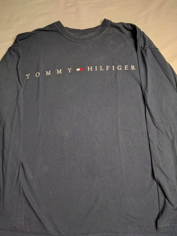 Tommy Hilfiger Long Sleeve Shirt Spellout L - 528co
