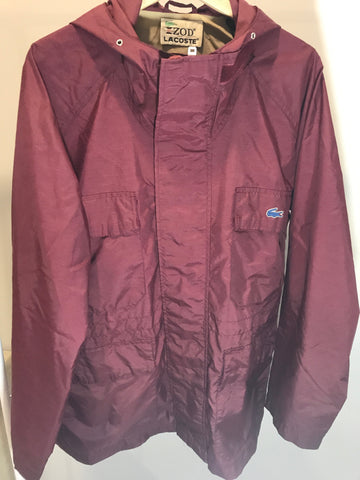 Vintage Lacoste Burgandy Trench Jacket Size L