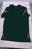 528 Black Velour Short Sleeve Hoodie - 528co