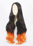 Perruque longue Curly Black&Orange Mixed