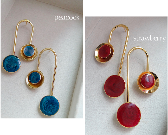 zivanora culla collection gold statement drop earrings in peacock blue and maroon pink