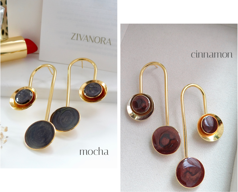 zivanora culla gold statement earrings in mocha and brown