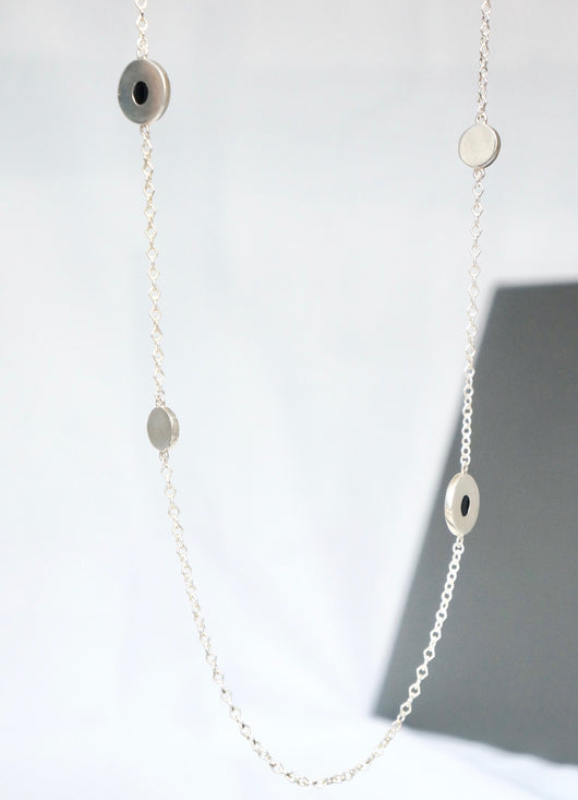 silver long necklace with colored round disc zivanora