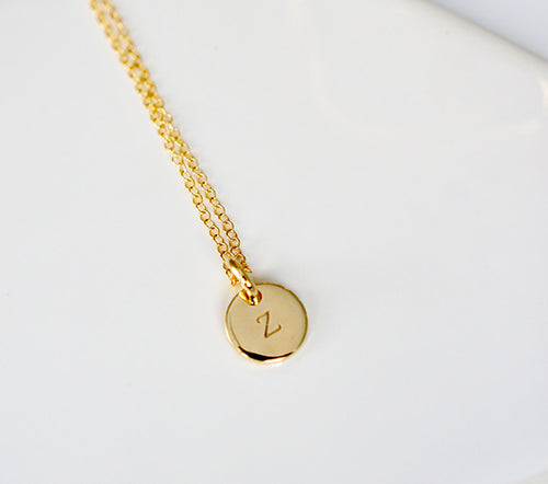 Intial Disc Pendant Necklace