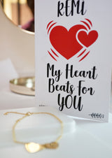 Personalized Heartbeat Bracelet With Greeting Card by Not Just Pulp