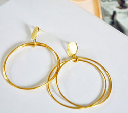Essence Disc Double Hoop Earrings