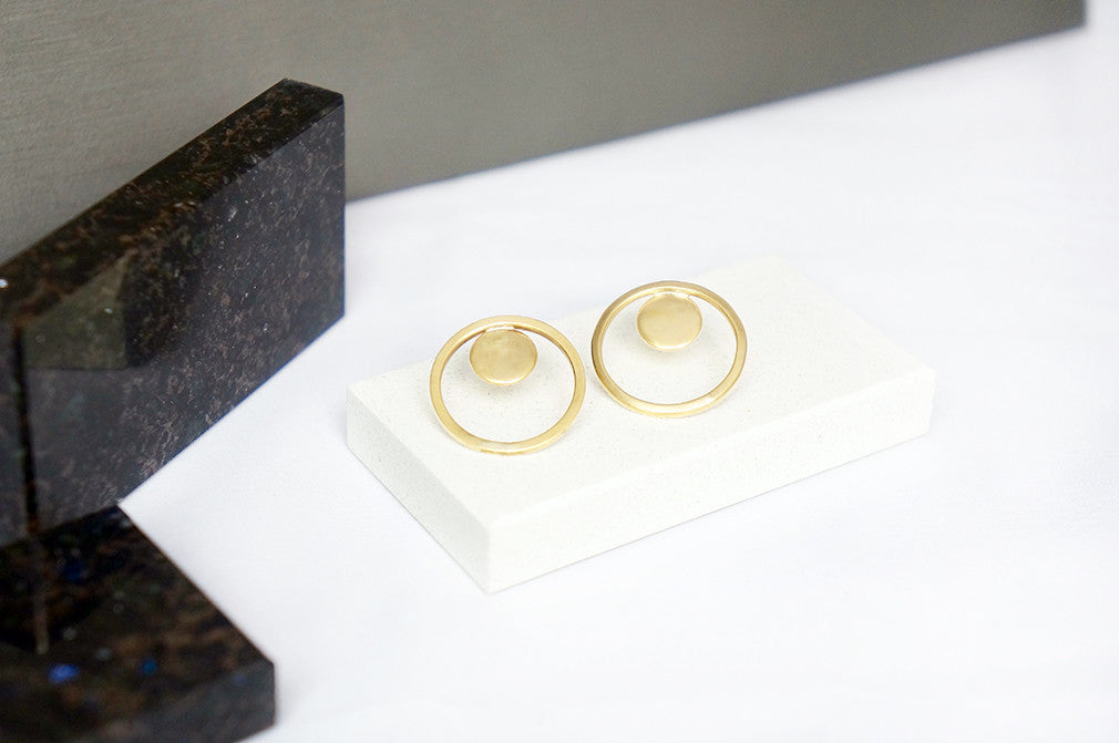 gold disc and circle stud earrings