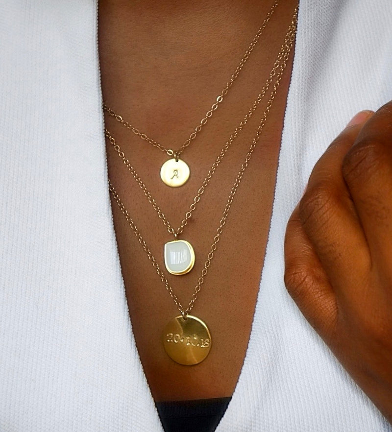 Essence Custom Disc Pendant Long Necklace