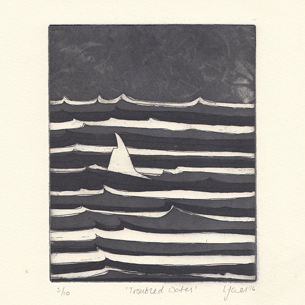 Troubled Waters. Giclée print by Norfolk based designer Louisa Jones