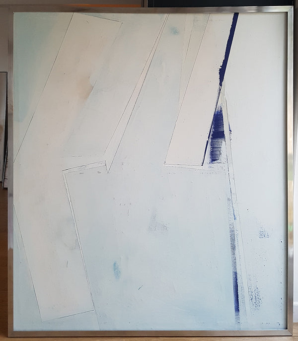 TWO TRACKS. Abstract painting by Suffolk based artist Amanda Edgcombe