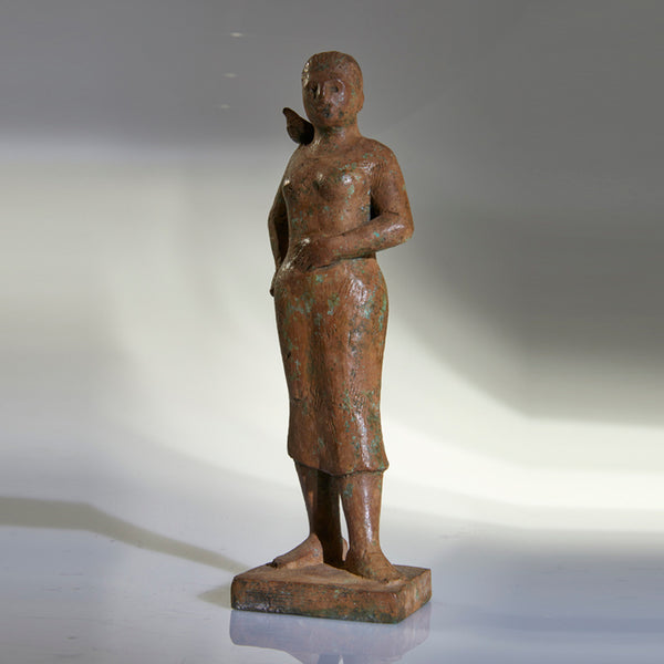 Bronze figure with bird