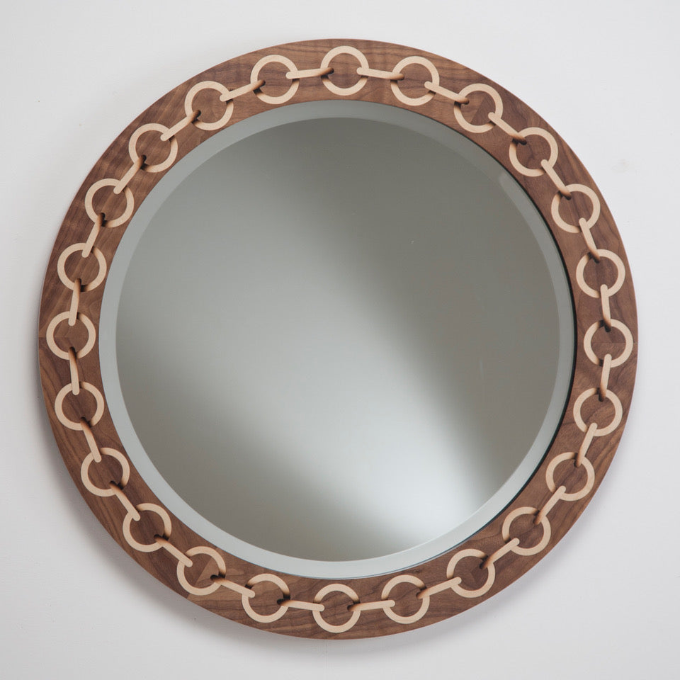 Chain Mirror - Walnut with shaded sycamore