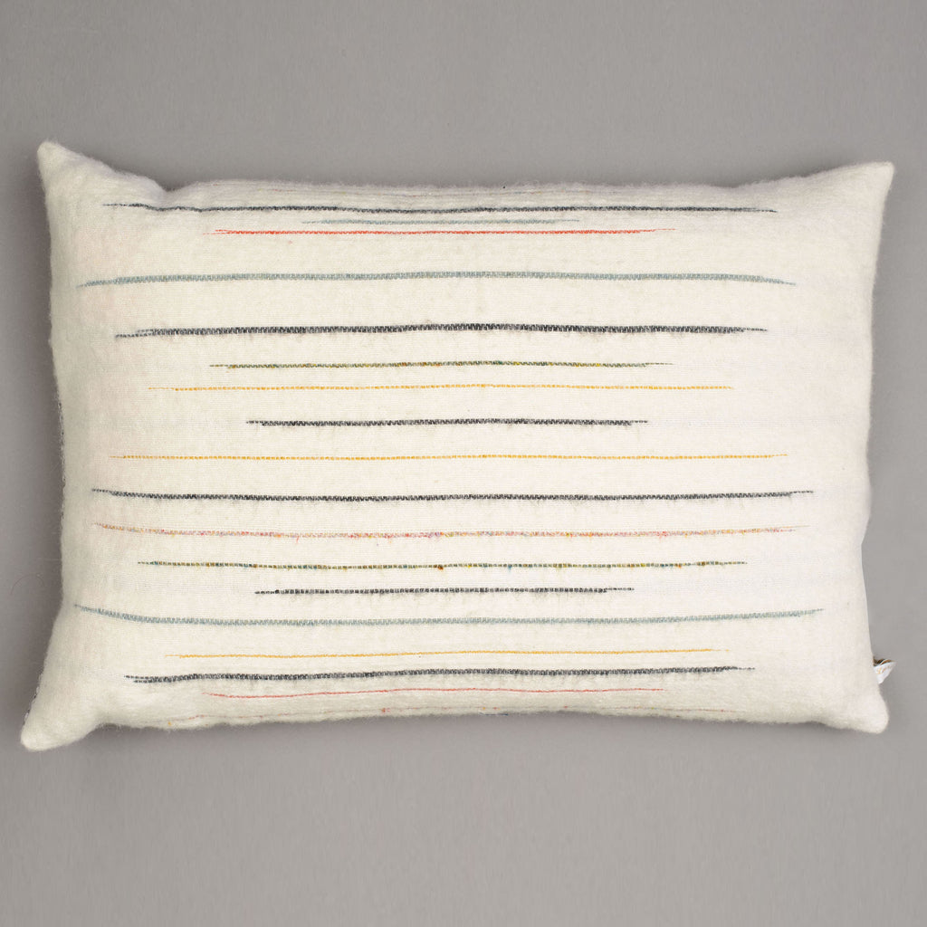 Large ecru Chalkney stripe cushion