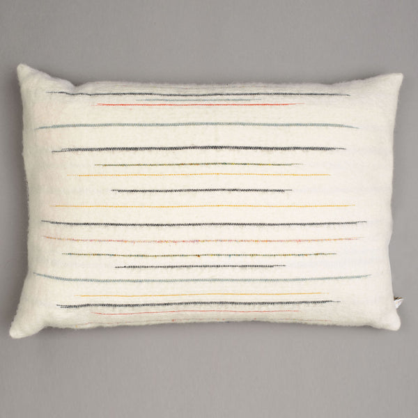 Chalkney stripe cushion, grey cushion. Designed by Suffolk based textile designer Laura Fletcher