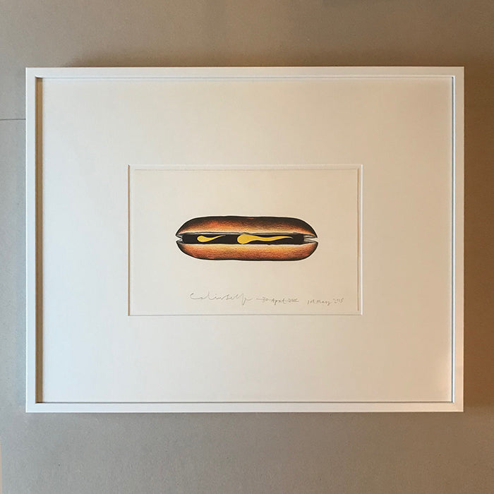 HOT DOG WITH MUSTARD. Framed work by Colin Self. Collage-ink drawing