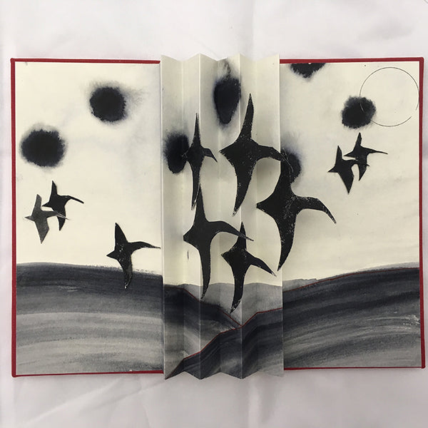 Hand painted bird flight book by Norfolk based artist and book binder Judith Ellis.