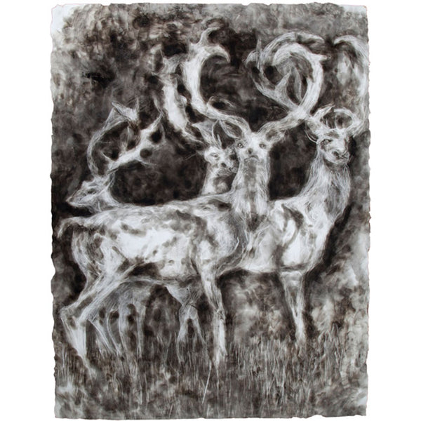 The Clearing. Print of smoke drawing by Norfolk based artist Maria Pavledis