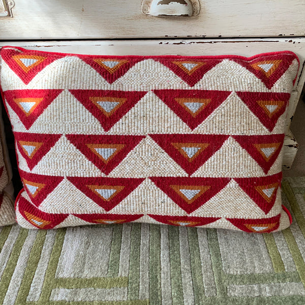 CUSHION - RED TRIANGLE - RED TRIM