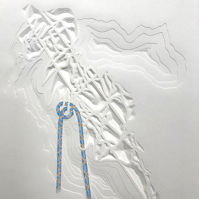 Knot Map, Italy. Paper construction by Norwich based artist Joni Smith