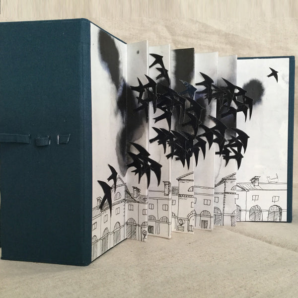 Hand painted birdflight book (Houghton Hall), concertina bound book