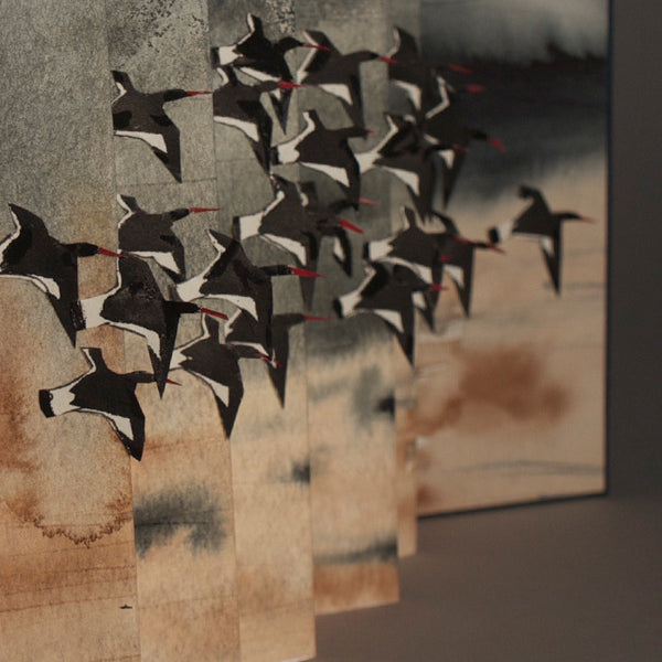 Hand painted birdflight book (Oystercatchers), concertina bound book detail