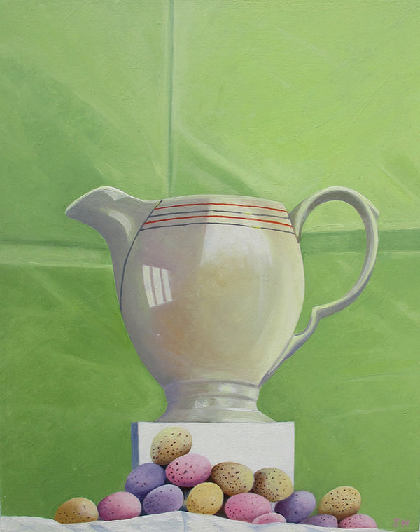 Jug and Mini Eggs. Painting by Norfolk based Joceline Wickham