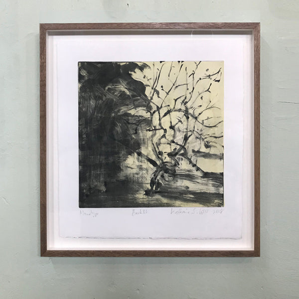 Monotype of Norfolk landscape by fine artist Kate Giles