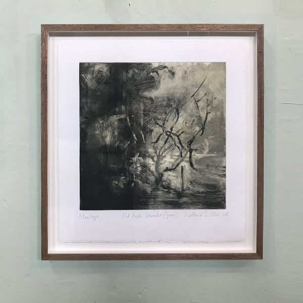 Monotype. A Norfolk orchard by Norfolk based artist Kate Giles.