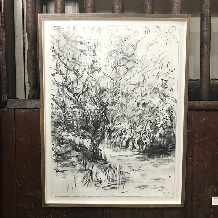 Drawing of trees in apple orchard by Norfolk based artist kate Giles