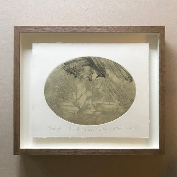 Oval monotype by Norfolk based artist Kate Giles
