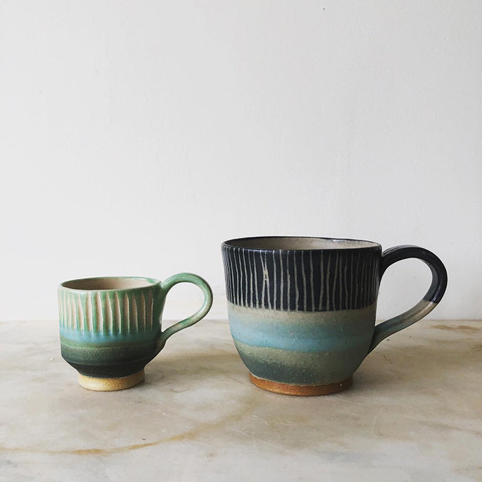 Large Mug - blue, pale blue, green