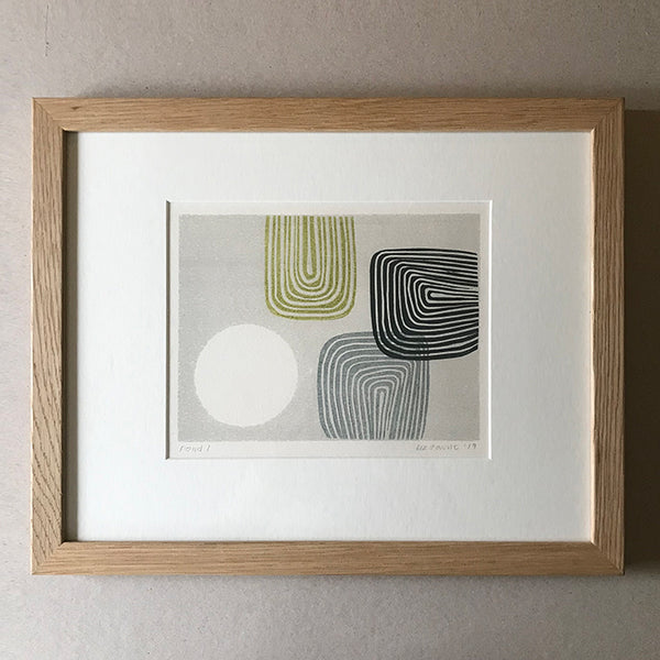POND I (2019). Lino print on paper by Suffolk based artist Liz Taunt