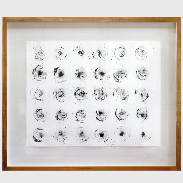 Drawing made using teasel and ink by environmental artist Liz McGowan